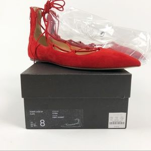 J. Crew Suede Lace Up Flats Fiery Sunset NWT Sz 8